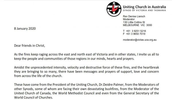 St Kilda Uniting Church Bush fires letter